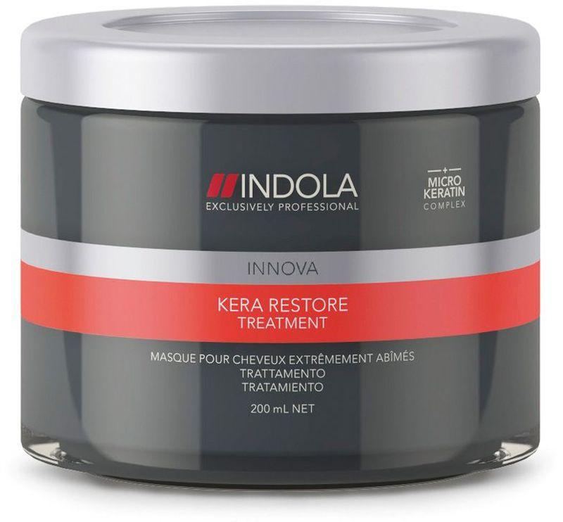 Indola Маска Кератиновое Восстановление Kera Restore Treatment 200 мл1854734Indola Маска Кератиновое Восстановление. Интенсивно восстанавливает внутреннюю структуру волос. Формула с микронизированным кератином глубоко проникает в структуру волоса, запечатывает кутикулу, усиливает фиброзную структуру, упругость и силу. Для сильно поврежденных волос. Рекомендуется использовать в комплексе с шампунем Indola Kera Restore.