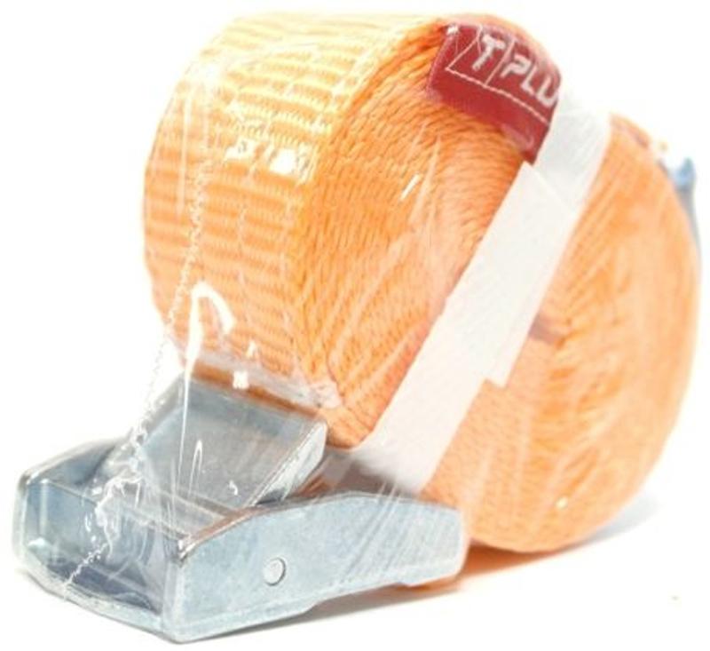 Стяжка для крепления груза Tplus, с фиксатором, 250 кг, 6 мT000841Предельная рабочая нагрузка (WLL): 250 кг; Длина: 6 м; Ширина ленты: 25 мм; Материал ленты: полиэстер; Замок: сплав цинка; Гарантия: 1 год.