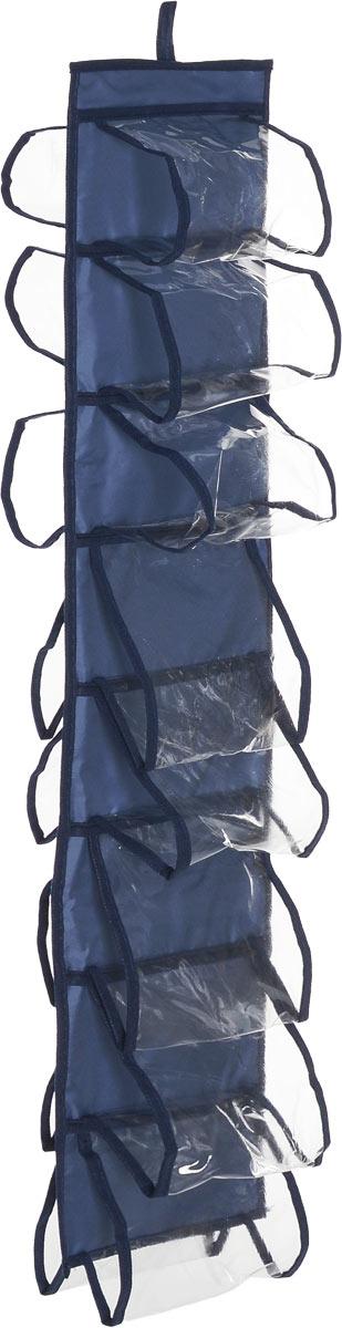 Органайзер для хранения шарфов и мелочей Homsu Bluе Sky, подвесной, цвет: темно-синий, 20 х 80 смНОМ-52_темно-синийПодвесной двусторонний органайзер для хранения Homsu Bluе Sky изготовлен из высококачественного нетканого материала (полиэстер). Изделие позволяет сохранить естественную вентиляцию, а воздуху свободно проникать внутрь, не пропуская пыль. Органайзер оснащен 16 раздельными секциями. Идеально подходит для хранения разных мелочей в шкафу. Мобильность конструкции обеспечивает складывание и раскладывание одним движением. Размер органайзера: 20 х 80 см.