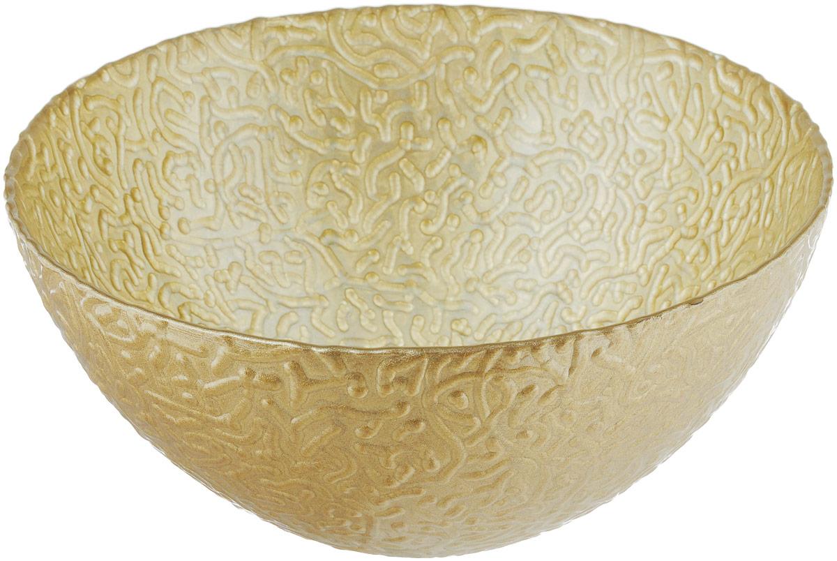 Салатник NiNaGlass Ажур, цвет: золотистый металлик, диаметр 20 см83-042-Ф200 ЗОЛМЕТСалатник NiNaGlass Ажур выполнен из высококачественного стекла и декорирован рельефным узором. Идеален для сервировки салатов, овощей и фруктов, ягод, вторых блюд, гарниров и многого другого. Он отлично подойдет как для повседневных, так и для торжественных случаев. Такой салатник прекрасно впишется в интерьер вашей кухни и станет достойным дополнением к кухонному инвентарю. Диаметр салатника (по верхнему краю): 20 см. Высота стенки: 9 см.