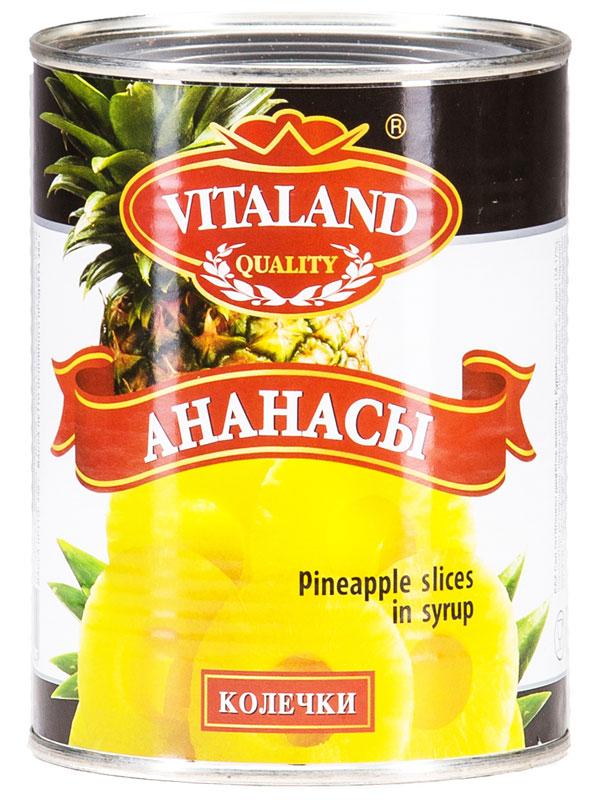 Vitaland ананасы колечки, 580 мл4041811017401Ананасы колечки в сладком сиропе