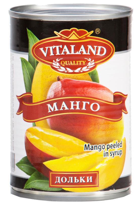 Vitaland манго дольки, 425 мл4041811017005Кусочки манго в сладком сиропе.