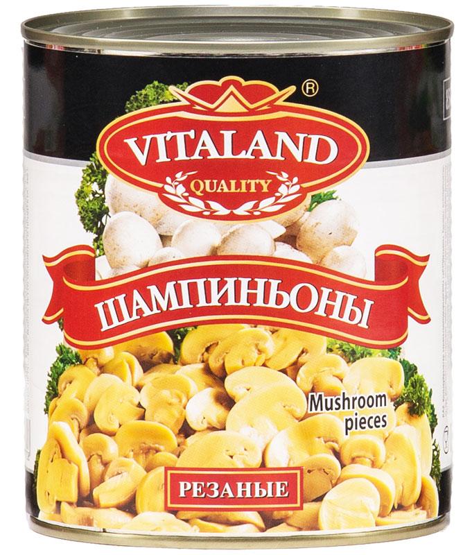 Vitaland шампиньоны резанные, 850 мл4041811017708Шампиньоны стерилизованные резанные