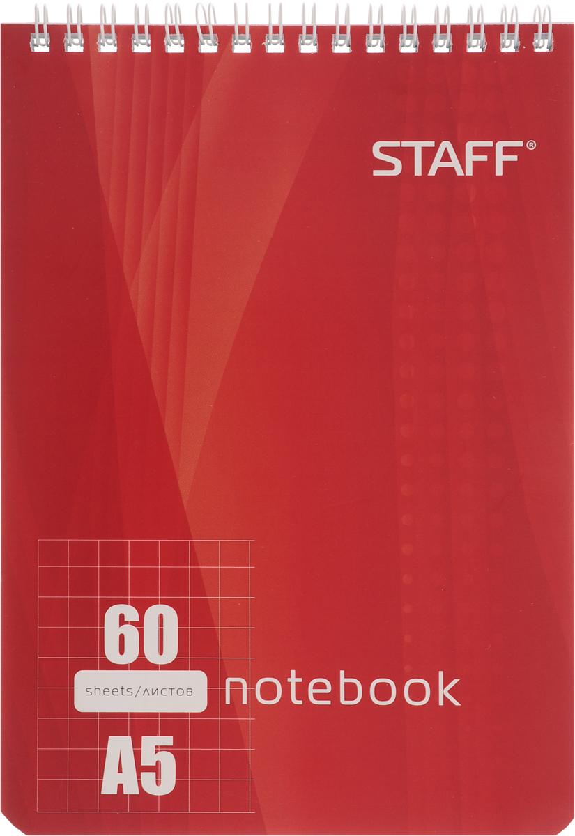 Staff Блокнот 60 листов в клетку цвет красный126539Блокнот Staff - незаменимый атрибут современного человека, необходимый для рабочих и повседневных записей в офисе и дома. Тыльная часть блокнота имеет жесткую заднюю обложку, позволяющую делать записи на весу. Стандартная линовка в голубую клетку без полей.