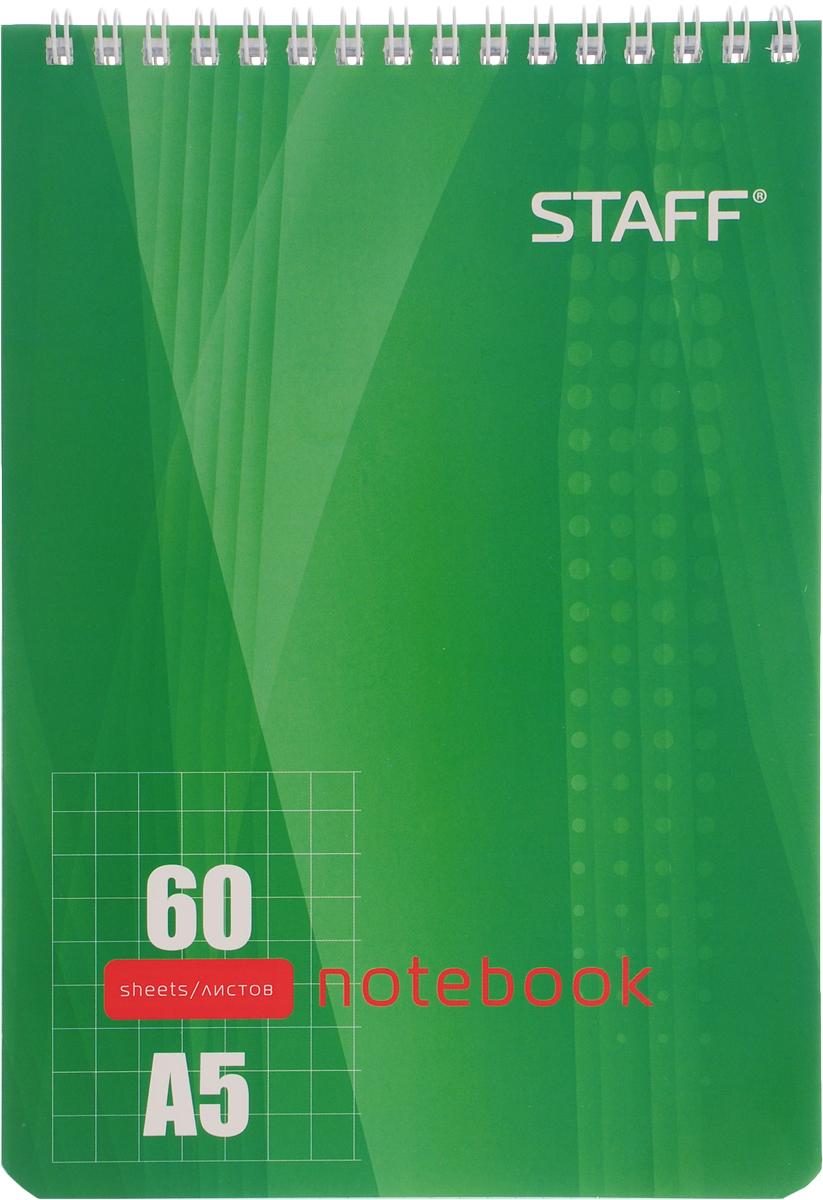 Staff Блокнот 60 листов в клетку цвет зеленый126539_зеленыйБлокнот Staff - незаменимый атрибут современного человека, необходимый для рабочих и повседневных записей в офисе и дома. Тыльная часть блокнота имеет жесткую заднюю обложку, позволяющую делать записи на весу. Стандартная линовка в голубую клетку без полей.