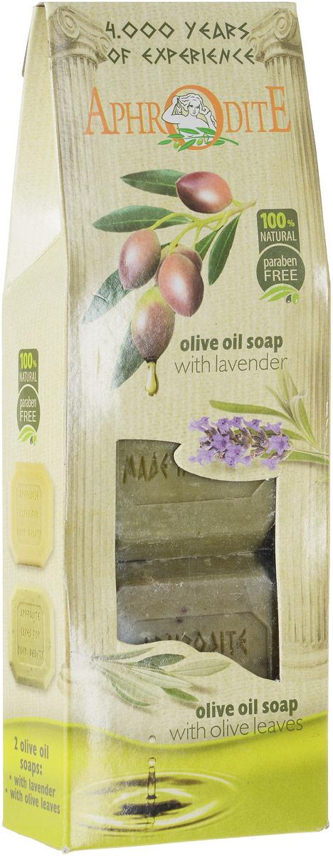 Aphrodite Мыло оливковое в наборе (лаванда & листья оливы), 220 г