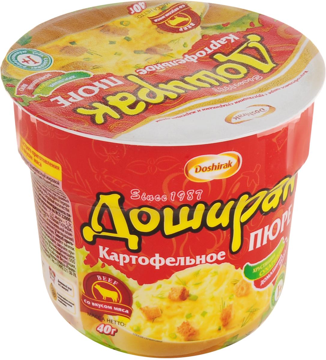 Doshirak пюре картофельное быстрого приготовления со вкусом мяса, в стакане, 40 г