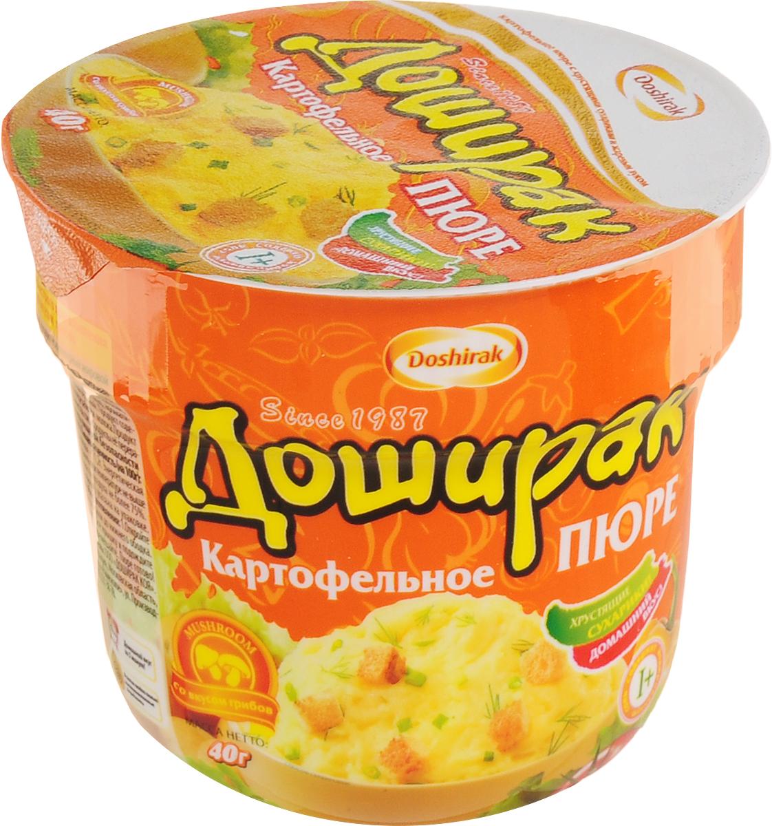 Doshirak пюре картофельное быстрого приготовления со вкусом грибов, в стакане, 40 г