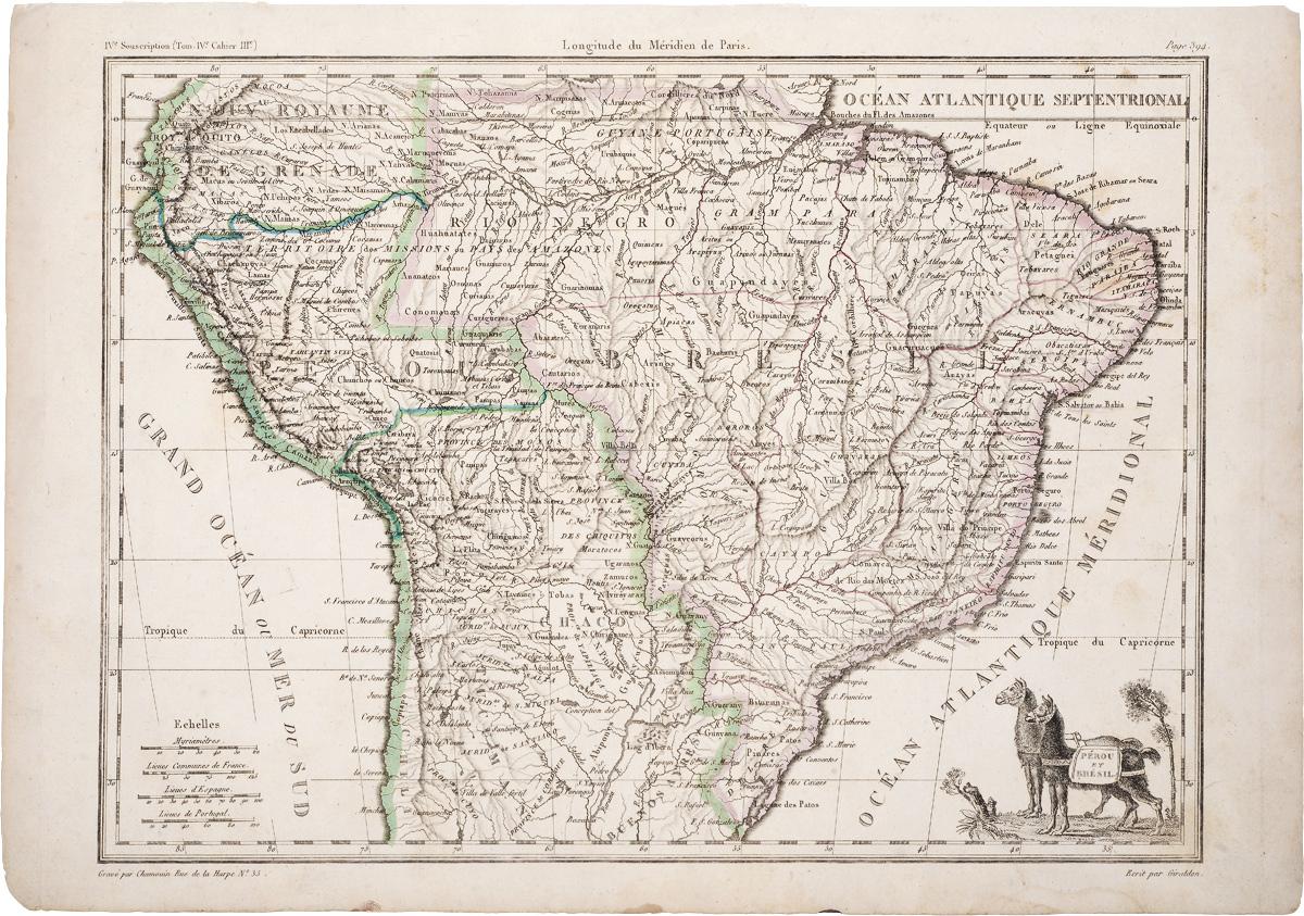 Географическая карта Перу и Бразилии. Гравюра. Франция, начало XIX века