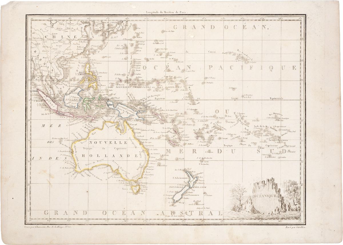 Географическая карта Океании. Гравюра. Франция, начало XIX века