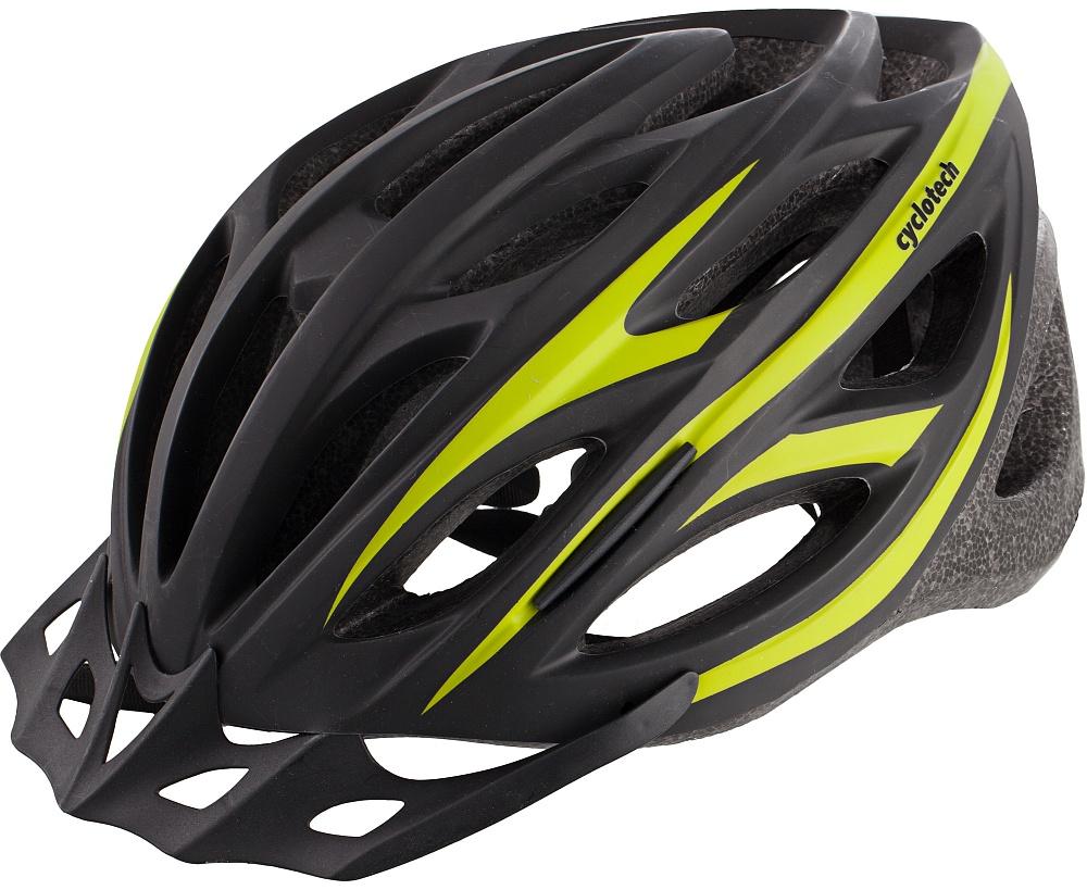 Шлем велосипедный Cyclotech, цвет: черный, зеленый. Размер MCHHY15MМужской велосипедный шлем, изготовленный по технологии OutMold, которая обеспечивает хорошее сочетание невысокой цены и достаточной технологичности. Увеличенное количество вентиляционных отверстий гарантирует отличную циркуляцию воздуха при любой скорости передвижения, сохраняя при этом жесткость шлема. Шлем соответствует международным стандартам безопасности и надежности., 58-62 см