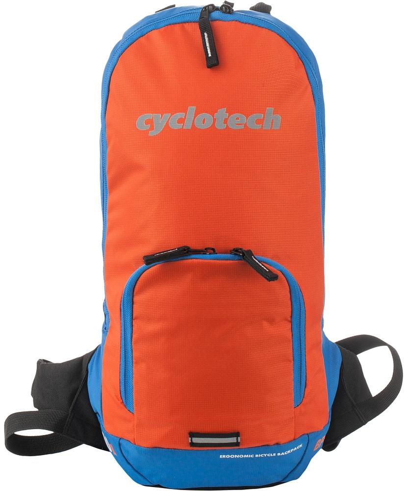 Рюкзак Cyclotech, цвет: голубой, оранжевый, 10 лCYC-10NРюкзак, оснащенный специальными спортивными лямками и отсеком для питьевой системы с возможностью провода шланга на лямку рюкзака. Светоотражающие элементы на внешней поверхности повышают безопасность при движении в темное время суток.