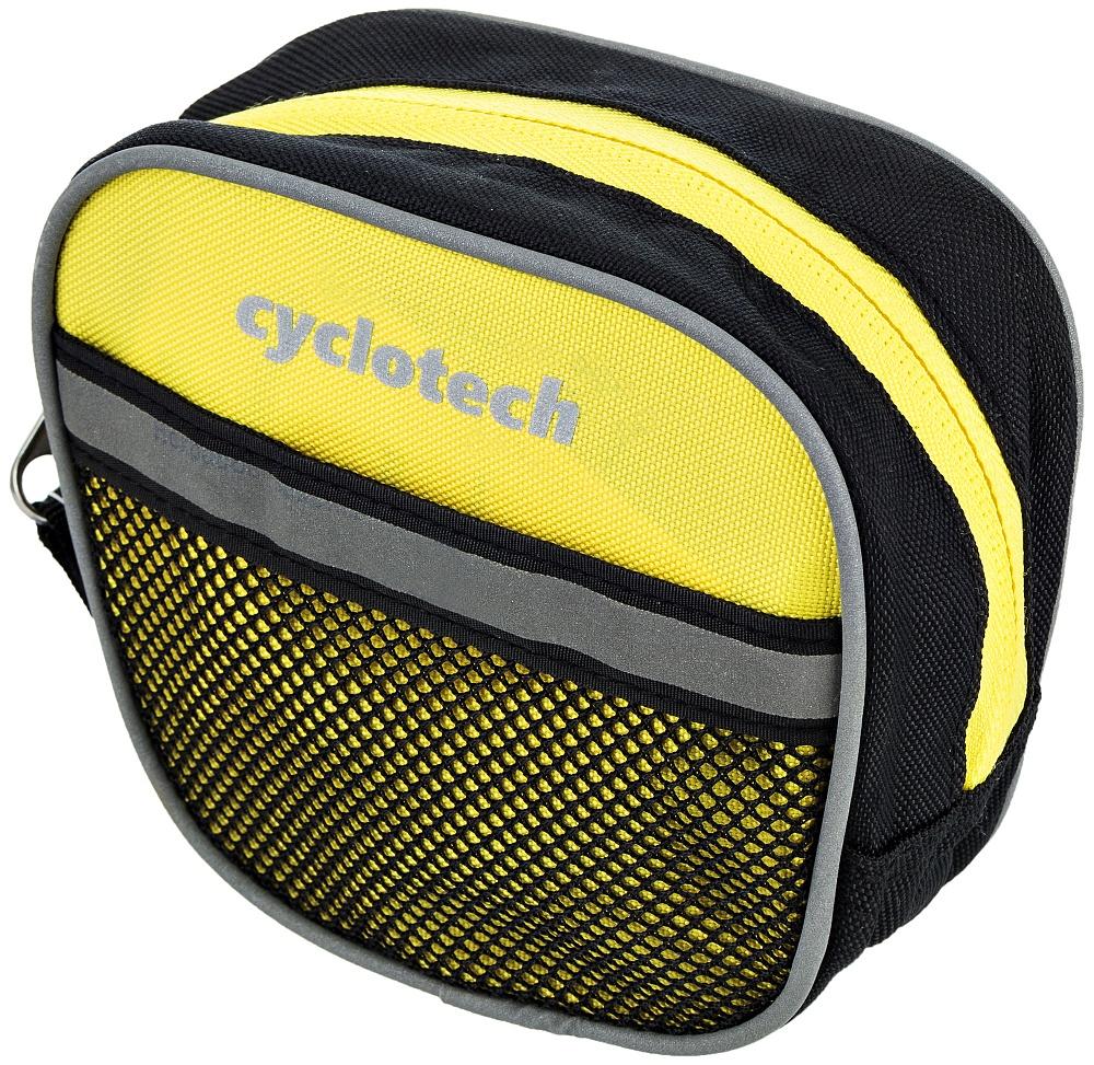 Велосумка Cyclotech, цвет: желтыйCYC-7YВелосипедная сумка с креплением на руль. Позволит разместить все необходимые мелочи - ключи, телефон, кошелек.