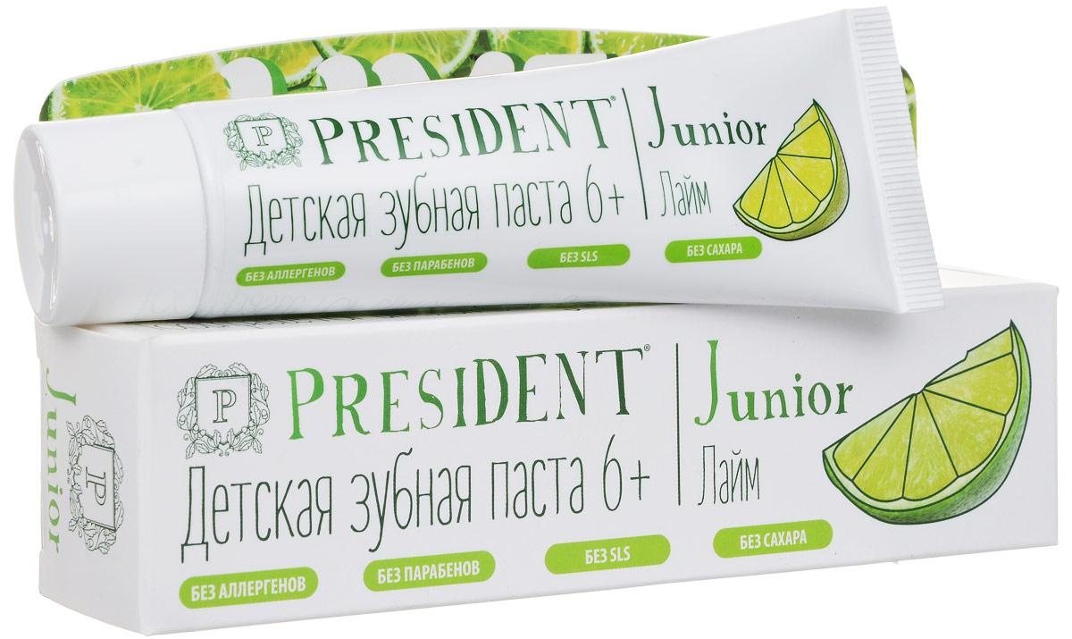 Зубная паста President Junior 6+, детская, со вкусом лайма, 50 мл4310-501118Детская зубная паста President Junior 6+ обеспечивает деликатный и эффективный уход за молочными и постоянными зубами. Стимулирует процессы реминерализации, предотвращает разрушение эмали и развитие кариеса. Освежающий аромат лайма превращает процесс чистки зубов в удовольствие. Не содержит сахар, парабены, лаурилсульфат натрия, ПЭГ. Характеристики: Объем: 50 мл. Размер упаковки: 16,5 см х 3,5 см х 3 см. Производитель: Италия. Артикул: 4310-501118. Товар сертифицирован.