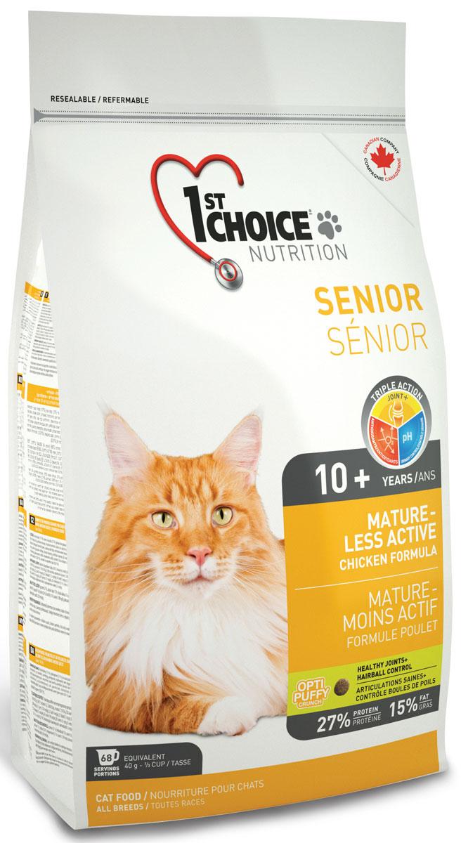 Корм сухой 1st Choice Mature or Less Active, для кошек, цыпленок, 5,44 кг102.1.2721st Choice MATURE OR LESS ACTIVE, эта формула - идеальный выбор для пожилого животного. Обогащенный глюкозамином и хондроитином этот корм улучшает здоровье суставов и облегчает их подвижность. Специальные питательные вещества и антиоксиданты замедляют процесс старения. Идеальный рН-баланс поддерживает здоровье мочевыделительной системы. Здоровье суставов + система вывода шерсти. При покупке 1st Choice Mature or Less Active сухой корм для стареющих и малоактивных кошек (с курицей) Вы можете стать участником дисконтной программы Иванко Доставка. Подробности уточняйте у оператора. Свежая курица 27% белок 17% жир Суставы +: Способствует укреплению костей и здоровью суставов. рН-контроль мочи: Снижает риск возникновения камней в мочевыделительной системе. Антиоксиданты: Замедляют процесс старения.