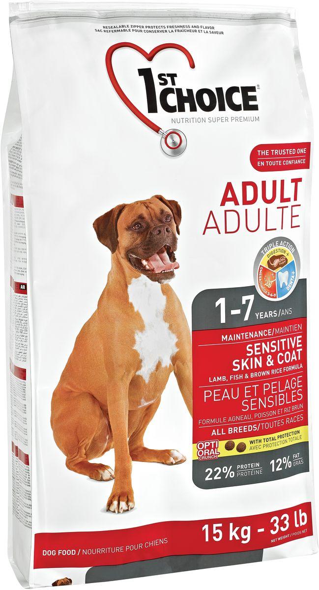 Корм сухой 1st Choice, для собак с чувствительной кожей и для шерсти, ягненок с рыбой и рисом, 15 кг102.321