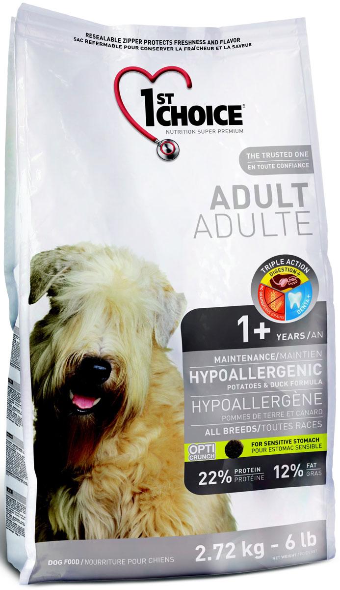 Корм сухой 1st Choice, для собак, гипоаллергенный, утка с картофелем, 2,72 кг102.323