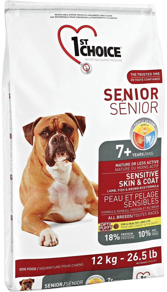 Корм сухой 1st Choice, для пожилых собак с чувствительной кожей и для шерсти, ягненок с рыбой и рисом, 12 кг102.332