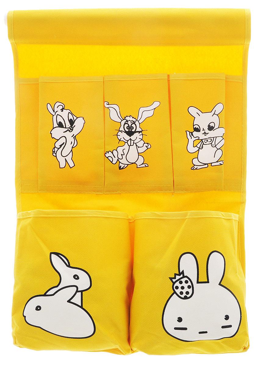Органайзер для хранения Sima-land Зайчата, цвет: желтый, 5 отделений423810_желтыйОрганайзер Sima-land, изготовленный из текстиля, предназначен для хранения необходимых вещей, множества мелочей в гардеробной, ванной, детской комнатах. Изделие оснащено 5 кармашками, пришитыми к текстильному полотну. Этот нужный предмет может стать одновременно и декоративным элементом комнаты. Размер самого большого отделения: 14,5 х 16 см. Размер самого маленького отделения: 13,5 х 7,5 см.