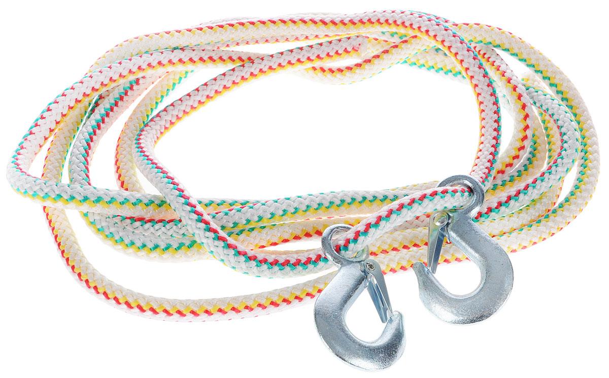 Трос-шнур альпинистский Главдор, с 2 крюками, диаметр 16 мм, 5 т, 4 мGL-253_белый, красный, зеленый, желтыйАльпинистский трос Главдор представляет собой шнур из сверхпрочной полипропиленовой нити с двумя стальными крюками. Специальное плетение веревки обеспечивает эластичность троса и плавный старт автомобиля при буксировке. На протяжении всего срока службы не меняет свои линейные размеры. Трос морозостойкий и влагостойкий. Длина троса соответствует ПДД РФ. Буксировочный трос обязательно должен быть в каждом автомобиле. Он необходим на случай аварийной ситуации или если ваш автомобиль застрял на бездорожье. Максимальная нагрузка: 5 т. Длина троса: 4 м. Диаметр троса: 16 мм.