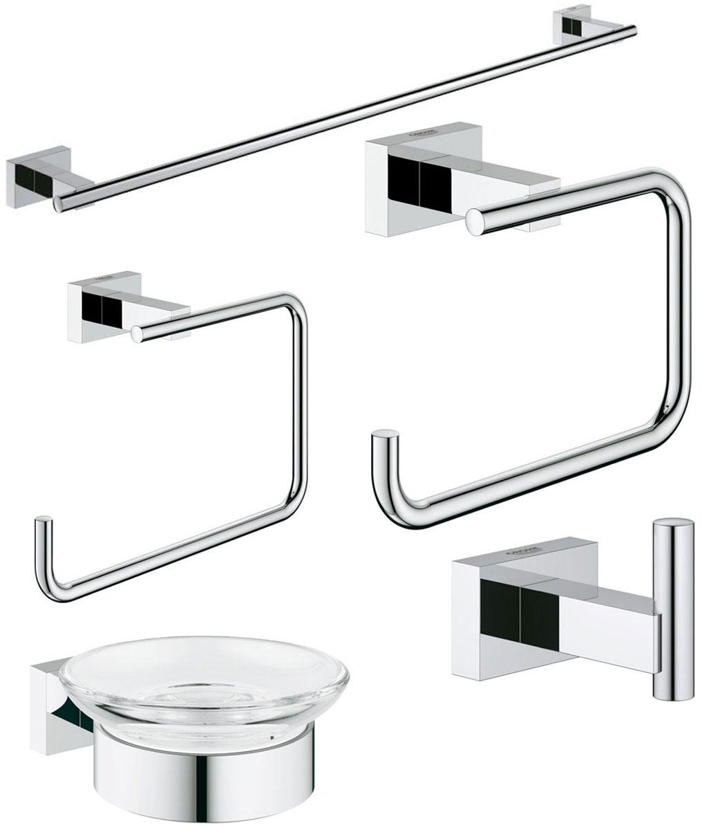 Набор аксессуаров для ванной комнаты Grohe Essentials Cube, 5 предметов40758001Набор аксессуаров для ванной комнаты Grohe Essentials Cube включает мыльницу с держателем, держатель для банного полотенца, держатель туалетной бумаги, крючок для банного халата и кольцо для полотенца. Набор очень практичен и функционален. Изделия выполнены из металла с хромированным покрытием. Благодаря специальной технологии Grohe StarLight покрытие обеспечивает сияющий блеск на протяжении всего срока службы. Кроме того, оно отталкивает грязь, не тускнеет и обладает высокой степенью износостойкости. Аксессуары крепятся к стене (крепежные элементы поставляются в комплекте). Крепление скрытое. Благодаря неизменно актуальному дизайну и долговечному хромированному покрытию, такой набор отлично дополнит интерьер ванной комнаты, воплощая собой изысканный стиль и превосходное качество. Размер кольца для полотенец: 19 х 11,5 х 6 см. Размер крючка: 6 х 4 х 4 см. Размер держателя туалетной бумаги: 14 х 9 х 6 см. Диаметр мыльницы: 11 см. Размер мыльницы...