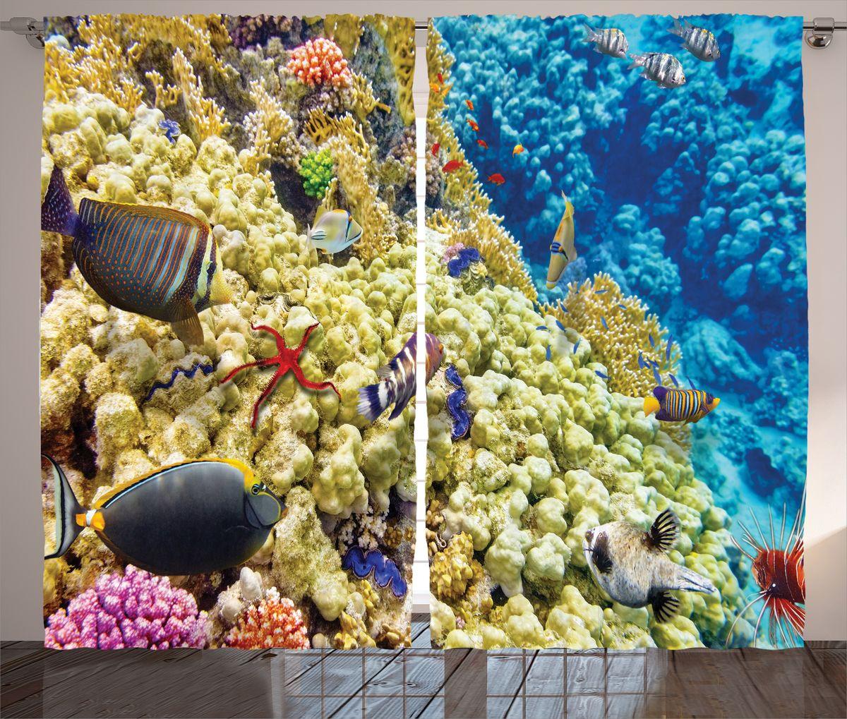 Комплект фотоштор Magic Lady Рыбы и кораллы, на ленте, высота 265 см. шсг_14606шсг_14606Компания Сэмболь изготавливает шторы из высококачественного сатена (полиэстер 100%). При изготовлении используются специальные гипоаллергенные чернила для прямой печати по ткани, безопасные для человека и животных. Экологичность продукции Magic lady и безопасность для окружающей среды подтверждены сертификатом Oeko-Tex Standard 100. Крепление: крючки для крепления на шторной ленте (50 шт). Возможно крепление на трубу. Внимание! При нанесении сублимационной печати на ткань технологическим методом при температуре 240°С, возможно отклонение полученных размеров (указанных на этикетке и сайте) от стандартных на + - 3-5 см. Производитель старается максимально точно передать цвета изделия на фотографиях, однако искажения неизбежны и фактический цвет изделия может отличаться от воспринимаемого по фото. Обратите внимание! Шторы изготовлены из полиэстра сатенового переплетения, а не из сатина (хлопок). Размер одного полотна шторы: 145х265 см. В комплекте 2...