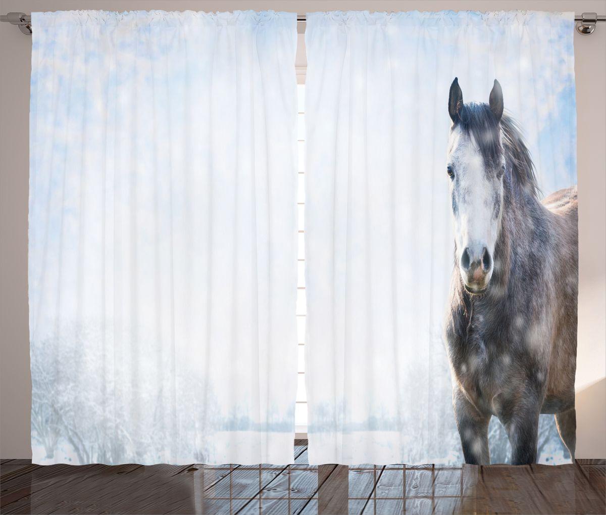 Комплект фотоштор Magic Lady Лошадь на заснеженном лугу, на ленте, высота 265 см. шсг_14897шсг_14897Компания Сэмболь изготавливает шторы из высококачественного сатена (полиэстер 100%). При изготовлении используются специальные гипоаллергенные чернила для прямой печати по ткани, безопасные для человека и животных. Экологичность продукции Magic lady и безопасность для окружающей среды подтверждены сертификатом Oeko-Tex Standard 100. Крепление: крючки для крепления на шторной ленте (50 шт). Возможно крепление на трубу. Внимание! При нанесении сублимационной печати на ткань технологическим методом при температуре 240°С, возможно отклонение полученных размеров (указанных на этикетке и сайте) от стандартных на + - 3-5 см. Производитель старается максимально точно передать цвета изделия на фотографиях, однако искажения неизбежны и фактический цвет изделия может отличаться от воспринимаемого по фото. Обратите внимание! Шторы изготовлены из полиэстра сатенового переплетения, а не из сатина (хлопок). Размер одного полотна шторы: 145х265 см. В комплекте 2...