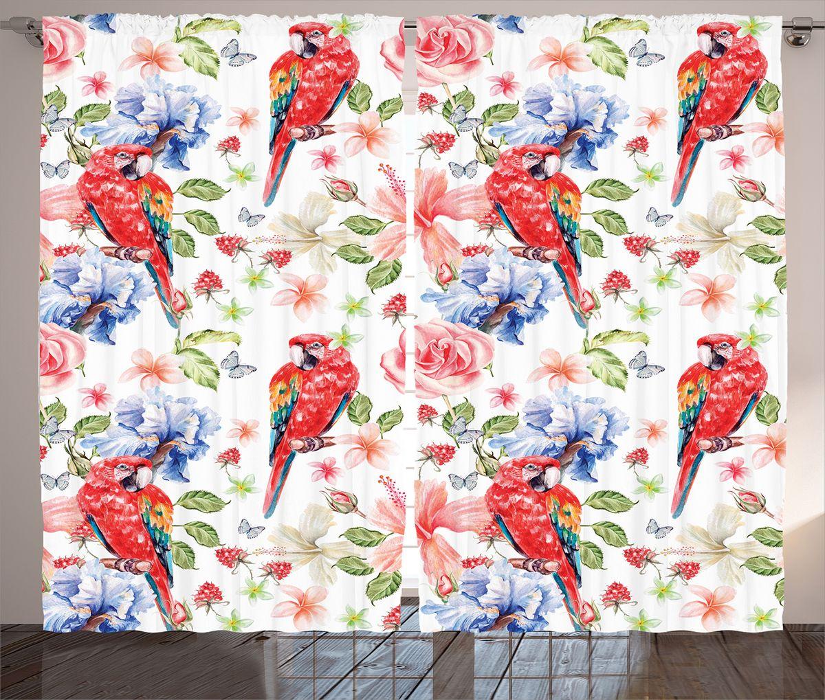 Комплект фотоштор Magic Lady Красные попугаи, цветы и ягоды, на ленте, высота 265 см. шсг_14973шсг_14973Компания Сэмболь изготавливает шторы из высококачественного сатена (полиэстер 100%). При изготовлении используются специальные гипоаллергенные чернила для прямой печати по ткани, безопасные для человека и животных. Экологичность продукции Magic lady и безопасность для окружающей среды подтверждены сертификатом Oeko-Tex Standard 100. Крепление: крючки для крепления на шторной ленте (50 шт). Возможно крепление на трубу. Внимание! При нанесении сублимационной печати на ткань технологическим методом при температуре 240°С, возможно отклонение полученных размеров (указанных на этикетке и сайте) от стандартных на + - 3-5 см. Производитель старается максимально точно передать цвета изделия на фотографиях, однако искажения неизбежны и фактический цвет изделия может отличаться от воспринимаемого по фото. Обратите внимание! Шторы изготовлены из полиэстра сатенового переплетения, а не из сатина (хлопок). Размер одного полотна шторы: 145х265 см. В комплекте 2...