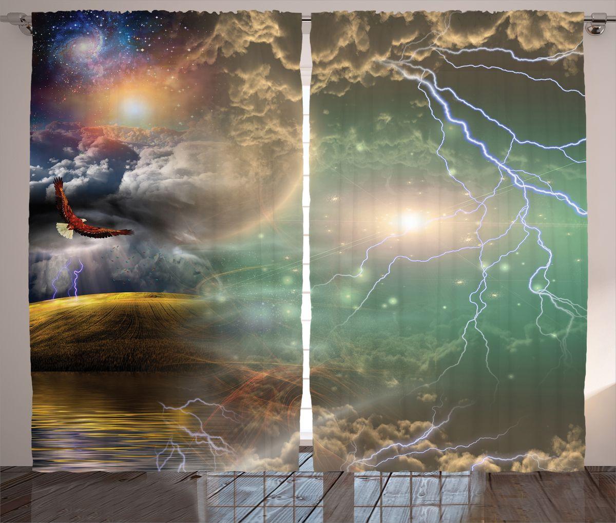 Комплект фотоштор Magic Lady Орел и молнии, на ленте, высота 265 см. шсг_15820шсг_15820Компания Сэмболь изготавливает шторы из высококачественного сатена (полиэстер 100%). При изготовлении используются специальные гипоаллергенные чернила для прямой печати по ткани, безопасные для человека и животных. Экологичность продукции Magic lady и безопасность для окружающей среды подтверждены сертификатом Oeko-Tex Standard 100. Крепление: крючки для крепления на шторной ленте (50 шт). Возможно крепление на трубу. Внимание! При нанесении сублимационной печати на ткань технологическим методом при температуре 240°С, возможно отклонение полученных размеров (указанных на этикетке и сайте) от стандартных на + - 3-5 см. Производитель старается максимально точно передать цвета изделия на фотографиях, однако искажения неизбежны и фактический цвет изделия может отличаться от воспринимаемого по фото. Обратите внимание! Шторы изготовлены из полиэстра сатенового переплетения, а не из сатина (хлопок). Размер одного полотна шторы: 145х265 см. В комплекте 2...
