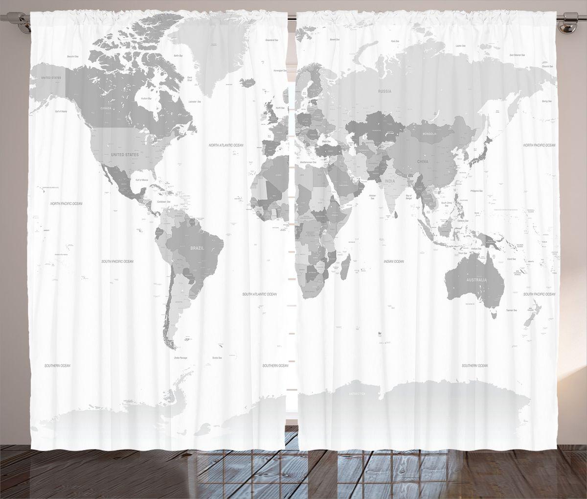 Комплект фотоштор Magic Lady Политическая карта мира, на ленте, высота 265 см. шсг_18025шсг_18025Компания Сэмболь изготавливает шторы из высококачественного сатена (полиэстер 100%). При изготовлении используются специальные гипоаллергенные чернила для прямой печати по ткани, безопасные для человека и животных. Экологичность продукции Magic lady и безопасность для окружающей среды подтверждены сертификатом Oeko-Tex Standard 100. Крепление: крючки для крепления на шторной ленте (50 шт). Возможно крепление на трубу. Внимание! При нанесении сублимационной печати на ткань технологическим методом при температуре 240°С, возможно отклонение полученных размеров (указанных на этикетке и сайте) от стандартных на + - 3-5 см. Производитель старается максимально точно передать цвета изделия на фотографиях, однако искажения неизбежны и фактический цвет изделия может отличаться от воспринимаемого по фото. Обратите внимание! Шторы изготовлены из полиэстра сатенового переплетения, а не из сатина (хлопок). Размер одного полотна шторы: 145х265 см. В комплекте 2...