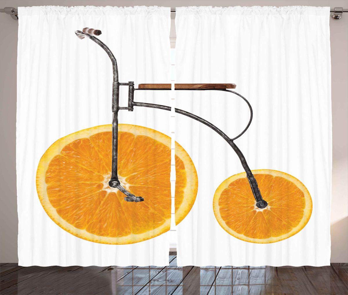 Комплект фотоштор Magic Lady Апельсиновые велосипед, на ленте, высота 265 см. шсг_5217шсг_5217Компания Сэмболь изготавливает шторы из высококачественного сатена (полиэстер 100%). При изготовлении используются специальные гипоаллергенные чернила для прямой печати по ткани, безопасные для человека и животных. Экологичность продукции Magic lady и безопасность для окружающей среды подтверждены сертификатом Oeko-Tex Standard 100. Крепление: крючки для крепления на шторной ленте (50 шт). Возможно крепление на трубу. Внимание! При нанесении сублимационной печати на ткань технологическим методом при температуре 240°С, возможно отклонение полученных размеров (указанных на этикетке и сайте) от стандартных на + - 3-5 см. Производитель старается максимально точно передать цвета изделия на фотографиях, однако искажения неизбежны и фактический цвет изделия может отличаться от воспринимаемого по фото. Обратите внимание! Шторы изготовлены из полиэстра сатенового переплетения, а не из сатина (хлопок). Размер одного полотна шторы: 145х265 см. В комплекте 2...