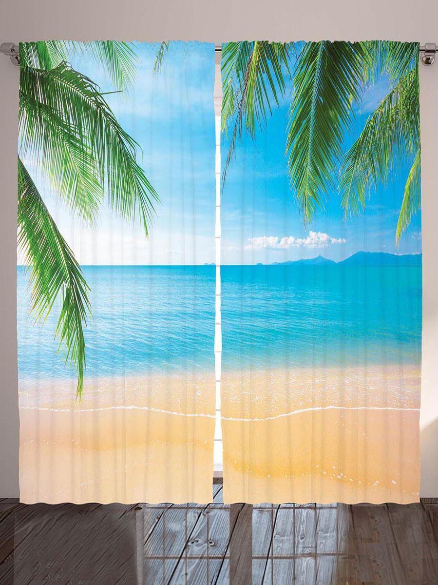 Комплект фотоштор Magic Lady Пальмовые листья над берегом, на ленте, высота 265 см. шсг_8963шсг_8963Компания Сэмболь изготавливает шторы из высококачественного сатена (полиэстер 100%). При изготовлении используются специальные гипоаллергенные чернила для прямой печати по ткани, безопасные для человека и животных. Экологичность продукции Magic lady и безопасность для окружающей среды подтверждены сертификатом Oeko-Tex Standard 100. Крепление: крючки для крепления на шторной ленте (50 шт). Возможно крепление на трубу. Внимание! При нанесении сублимационной печати на ткань технологическим методом при температуре 240°С, возможно отклонение полученных размеров (указанных на этикетке и сайте) от стандартных на + - 3-5 см. Производитель старается максимально точно передать цвета изделия на фотографиях, однако искажения неизбежны и фактический цвет изделия может отличаться от воспринимаемого по фото. Обратите внимание! Шторы изготовлены из полиэстра сатенового переплетения, а не из сатина (хлопок). Размер одного полотна шторы: 145х265 см. В комплекте 2...