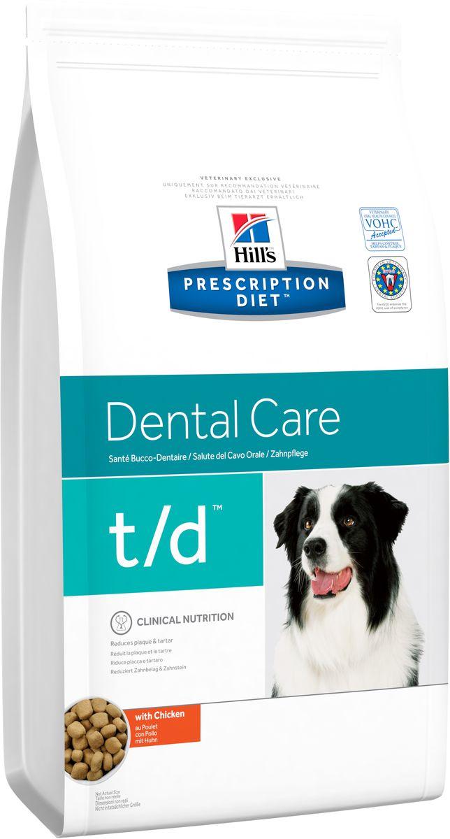 Сухой корм для собак Hills Prescription Diet t/d Canine Dental Health диета для лечения заболеваний полости рта, 3 кг4023Осуществляя покупку, я подтверждаю, что осведомлен о необходимости получения рекомендации ветеринарного специалиста не реже, чем раз в 6 месяцев для применения данного рациона. Рекомендуется • Препятствует отложению зубного налета, зубного камня и потемнению эмали. • При неприятном запахе из пасти. • Для собак, предрасположенных к развитию гингивита. Не рекомендуется • Кошкам. • Щенкам. • Беременным и кормящим сукам. • Собакам с заболеваниями периодонта тяжелои? степени без соответствующего наблюдения врача и лечения. Ингредиенты сухого рациона Молотая кукуруза, молотыи? рис, мука из мяса домашнеи? птицы, порошок целлюлозы, животныи? жир, мука из гороховых отрубеи?, гидролизат белка, сухое цельное яи?цо, растительное масло, калия цитрат, кальция сульфат, соль, кальция карбонат, таурин, L-триптофан, витамины и микроэлементы. Содержит одобренныи? ЕС антиоксидант. СРЕДНЕЕ СОДЕРЖАНИЕ НУТРИЕНТОВ ...
