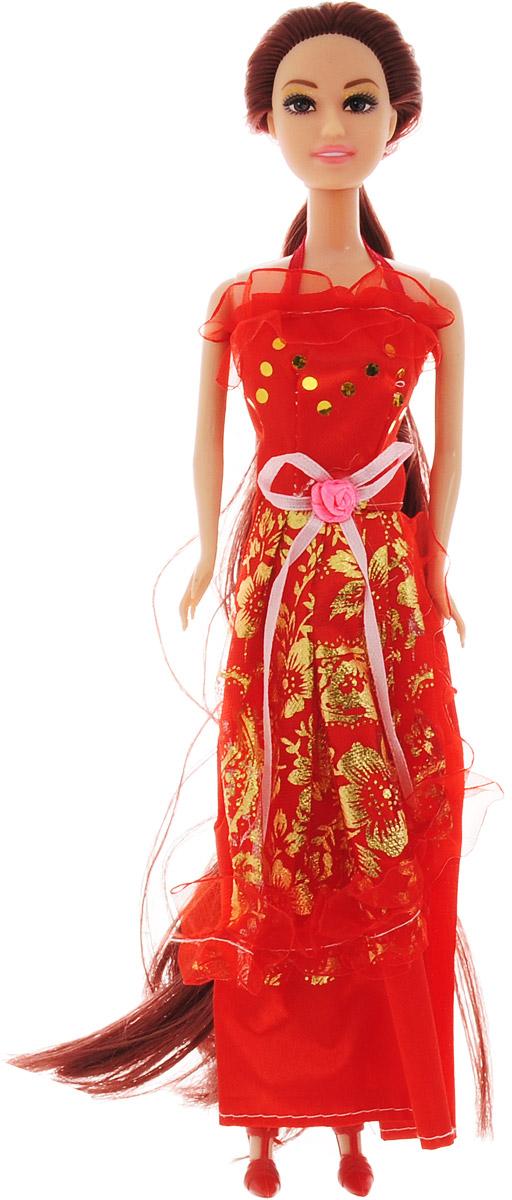ABtoys Кукла Модница цвет платья красный