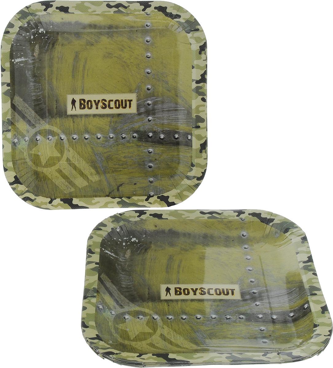 Набор одноразовых тарелок Boyscout, 23 х 23 см, 6 шт61701Набор Boyscout состоит из 6 квадратных тарелок с рисунком под камуфляж, выполненных из картона с защитным покрытием. Тарелки отлично подходят для холодных и горячих продуктов. Одноразовая посуда незаменима в поездках на природу и на пикниках. Она не займет много места, легка и самое главное - после использования ее не надо мыть.