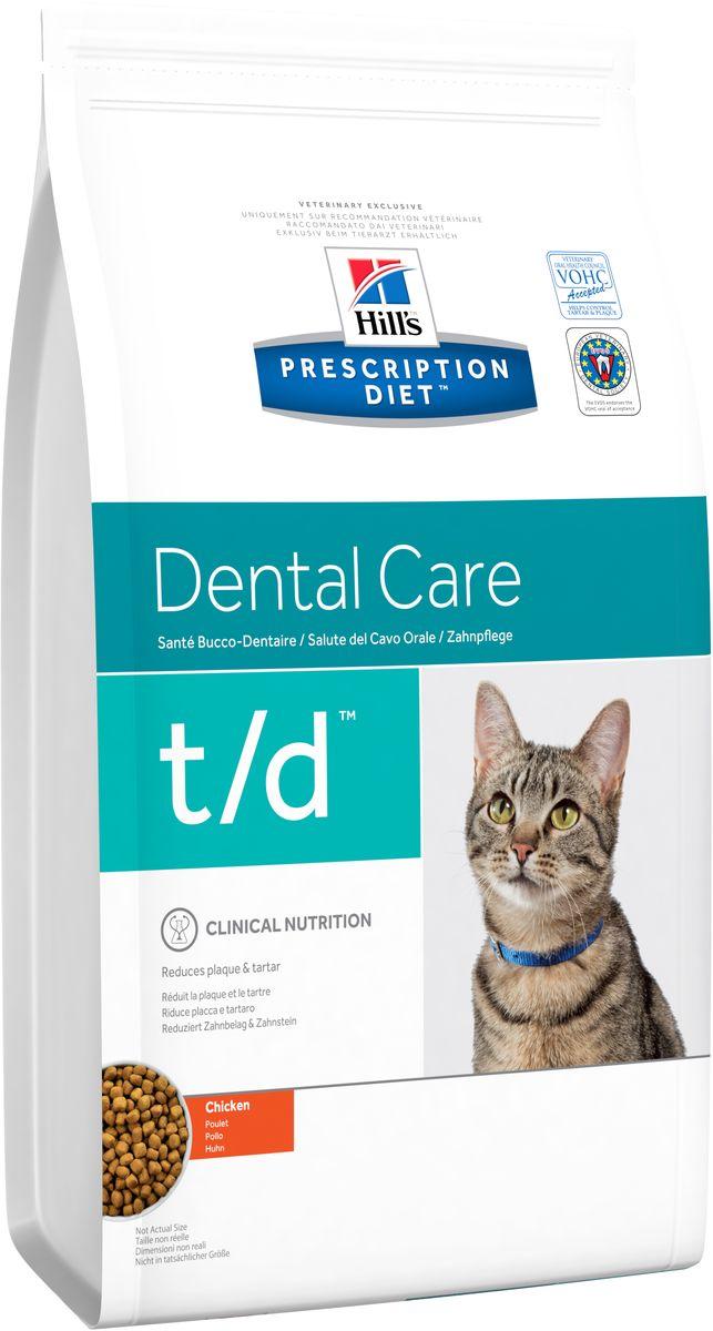 Корм сухой диетический Hills T/D для кошек, для лечения заболеваний полости рта, 1,5 кг8688Сухой корм Hills T/D - полноценный рацион для взрослых кошек. Подтверждено клинически - сокращает образование зубного налета и зубного камня, являющихся основной причиной возникновения неприятного запаха из пасти, гингивита и дентальных заболеваний. - Превосходный вкус понравится вашей кошке. - Супер антиоксидантная формула повышает устойчивость клеток организма к воздействию свободных радикалов. - Одобрено Советом ветеринарных стоматологов. Монодиета, не требует дополнений. Состав: зерновые злаки, мясо и пептиды животного происхождения, масла и жиры, экстракты растительного белка, производные растительного происхождения, минералы. Анализ: белок 32,0%, жир 15,6%, клетчатка 7,5%, зола 5,4%, кальций 0,89%, фосфор 0,71%, натрий 0,30%, калий 0,69%, магний 0,06%; на кг: витамин E 550 мг, витамин С70 мг, Бета-каротин 1,5 мг, таурин 1 645 мг. Добавки на кг: E672 (витамин А) 16 000 ME, E671 (витамин D3) 943 ME, E1 (железо)...