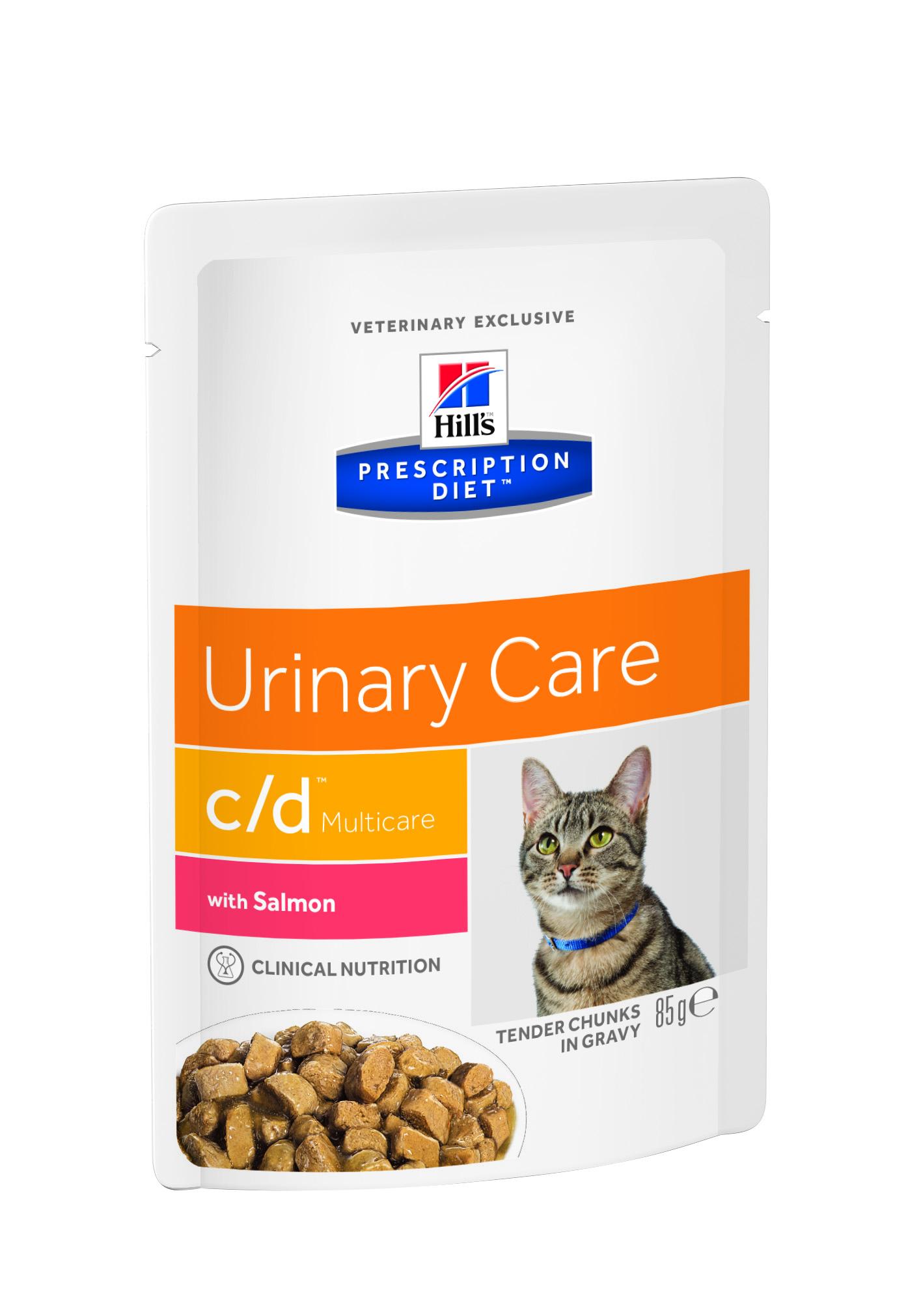 Консервы диетические для кошек Hills C/D, профилактика МКБ, струвитов, с лососем, 85 г3408Консервы для кошек Hills C/D - полноценный диетический рацион для кошек при урологическом синдроме (для снижения вероятности рецидивов струвитного уролитиаза). Рацион обладает закисляющими мочу свойствами и содержит умеренный уровень магния. Рекомендации по кормлению: суточная норма кормления указана на упаковке и должна быть рассчитана в соответствии с размером животного, чтобы поддерживать оптимальный вес. Суточную норму можно разделить на 2 и более кормлений в день. Рекомендуемая продолжительность диетотерапии: до 6 месяцев. Обеспечьте питомца постоянным свободным доступом к свежей воде. Состав: зерновые злаки, мясо и производные животного происхождения, рыба и рыбные производные, экстракты растительного белка, различные сахара, яйцо и его производные, производные растительного происхождения, масла и жиры, минералы. Подкисляющее мочу вещество: DL-метионин. Анализ: белок 9,1%, жир 4,5%, клетчатка 0,2%, зола 1,2%, влага 78,3%,...
