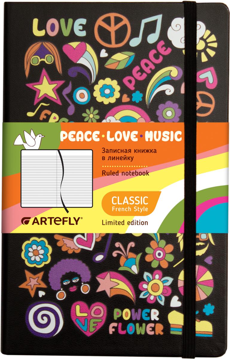 Artefly Записная книжка Love Peace Music 84 листа в линейкуAFNM-R7-LPMЗаписная книжка Artefly Love. Peace. Music будет всегда под рукой для записи нужной информации или важных мыслей. Внутренний блок состоит из 84 листов в линейку. Записная книжка имеет закругленные углы и кармашек на внутренней стороне обложки. Благодаря своему размеру книжка легко поместится в карман или небольшую сумку.