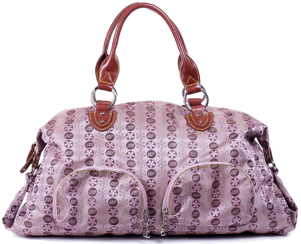 Сумка женская Unicorn, цвет: розовый, коричневый. CP-6366-63CP-6366-63Вместительная женская сумка Unicorn выполнена из текстиля с элементами натуральной кожи. Изделие имеет одно просторное отделение на застежке-молнии, которое разграничено надвое застегивающимся на молнию карманом-разделителем. Так же внутри большого отделения имеются два кармашка для мелочей и один прорезной на застежке- молнии. Снаружи сумка дополнена двумя накладными кармашками на молнии спереди, одним прорезным сзади. Изделие имеет две удобные для переноски ручки.
