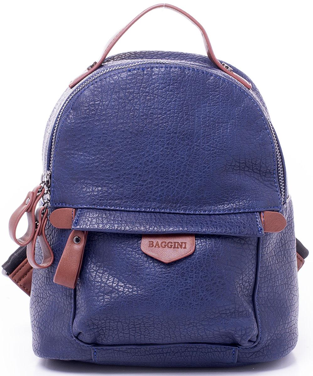 Рюкзак женский Baggini, цвет: синий. 29868/4329868/43Компактный рюкзак Baggini подойдет как для создания романтичного и непринужденного образа, так и для функциональных потребностей к изделию. Рюкзак, несмотря на свои габариты, оснащен множеством карманов: один на застежке-молнии снаружи спереди, еще один, так же на молнии, сзади, четыре кармана внутри отделения - накладной для телефона, карман-разделитель на молнии, формирующий позади себя еще один карман и прорезной карман на застежке-молнии. Рюкзак оснащен широкими регулируемыми наплечными лямками и ручкой сверху для удобной переноски. Главное отделение застегивается на молнию. Изделие исполнено из экокожи.