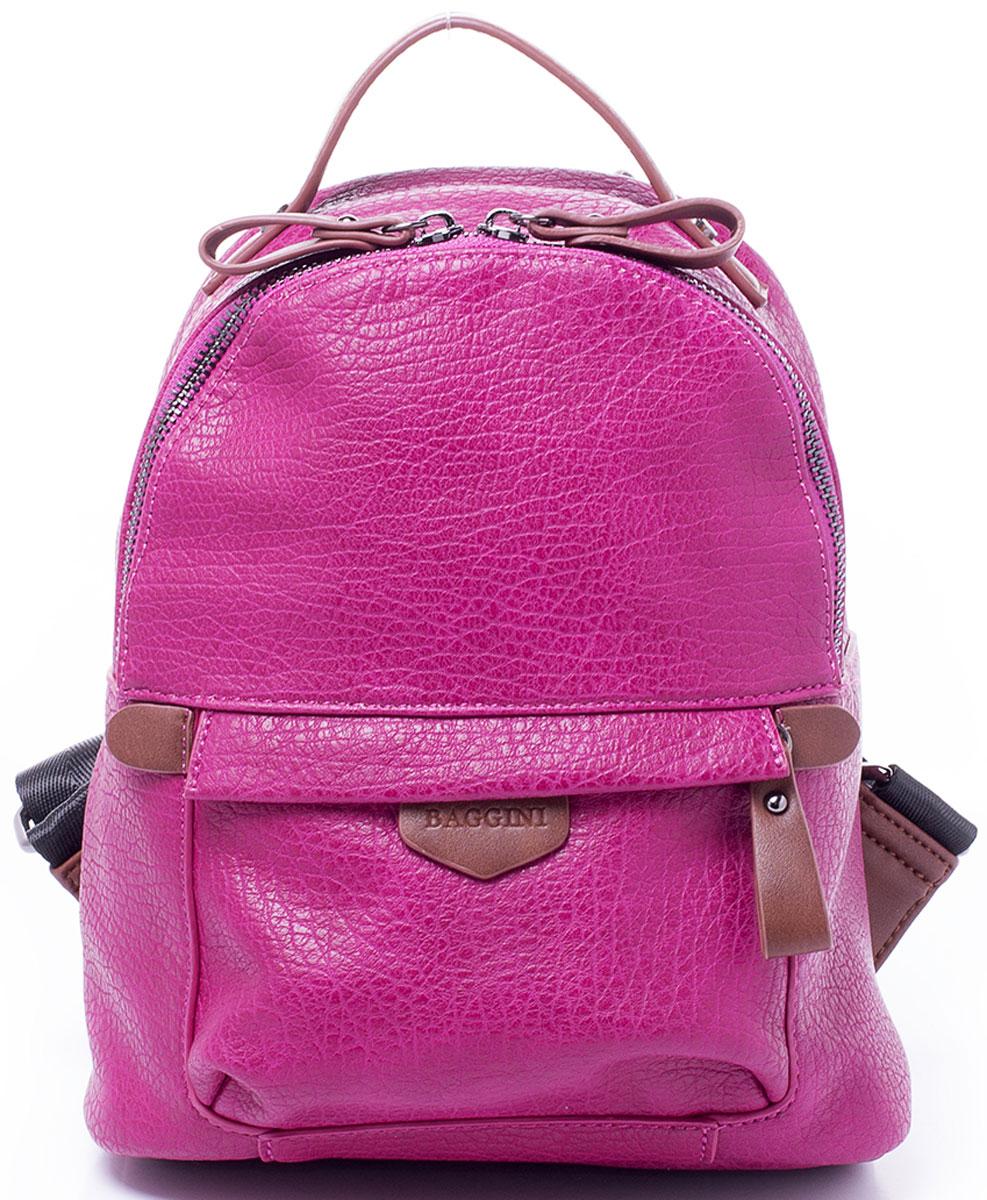 Рюкзак женский Baggini, цвет: фуксия. 29868/6429868/64Компактный рюкзак Baggini подойдет как для создания романтичного и непринужденного образа, так и для функциональных потребностей к изделию. Рюкзак, несмотря на свои габариты, оснащен множеством карманов: один на застежке-молнии снаружи спереди, еще один, так же на молнии, сзади, четыре кармана внутри отделения - накладной для телефона, карман-разделитель на молнии, формирующий позади себя еще один карман и прорезной карман на застежке-молнии. Рюкзак оснащен широкими регулируемыми наплечными лямками и ручкой сверху для удобной переноски. Главное отделение застегивается на молнию. Изделие исполнено из экокожи.