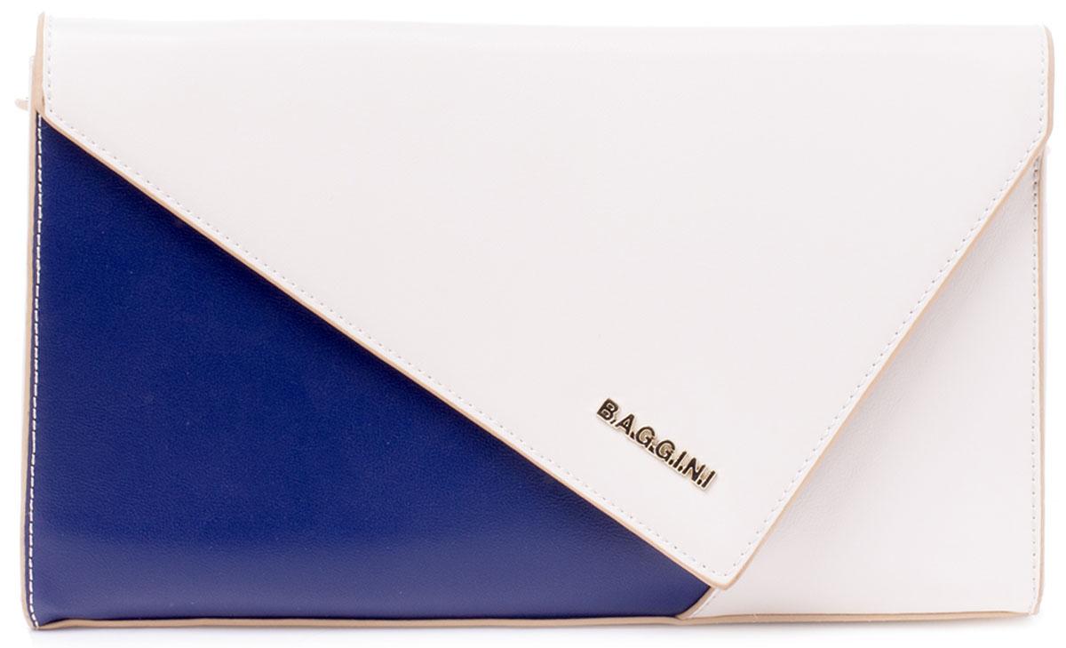 Сумка женская Baggini, цвет: бежевый, синий. 29762S/4329762S/43Стильная геометричная сумочка Baggini исполнена из высококачественной плотной экокожи. Под клапаном оригинального дизайна на магнитной кнопке находится отделение на застежке-молнии. В нем имеются два накладных кармашка для мелочей или телефона и один прорезной карман на молнии. Такой же карман находится и снаружи, на задней стенке сумки. Изделие имеет отстегивающийся регулируемый ремень на карабинах. Благодаря этому, сумочку можно носить как на ремне через плечо, так и в руках, как клатч. Ремень прилагается.