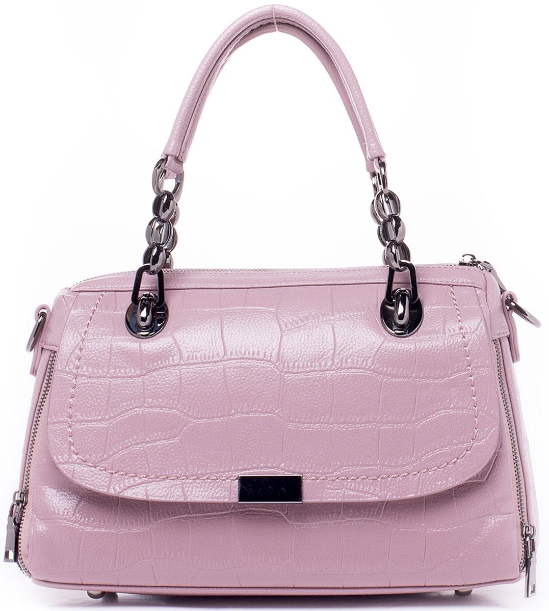Сумка женская Baggini, цвет: розовый. 29844-1/6329844-1/63Модельная сумка Baggini с регулируемой глубиной исполнена из высококачественной экокожи и имеет одно вместительное отделение застегивающееся на молнию. Внутри отделения находятся два накладных кармашка для мелочей и сотового телефона, один прорезной карман на молнии и один накладной большой карман, образованный карманом-разделителем на молнии. Сумка имеет клапан-обманку на фасаде, а сзади еще один прорезной карман на застежке-молнии. Глубина сумки регулируется застежками-молниями по бокам. Изделие обладает двумя удобными ручками для переноски и отстегивающимся наплечным регулируемым ремнем на карабинах. Ремень прилагается.