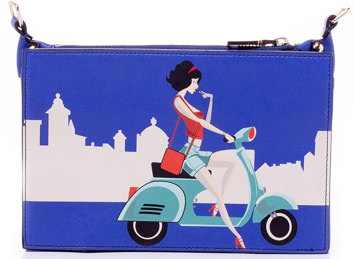 Сумка женская Baggini, цвет: синий, мультиколор. 29939/4029939/40Компактная сумочка Baggini исполнена из высококачественной экокожи и оформлена принтом в французском стиле. Изделие имеет два кольца по бокам, на которые пристегивается регулируемый съемный плечевой ремень. Сумочку можно носить без ремня, как клатч. Внутри имеются три отделения, два из которых застегиваются на магнитные кнопки, а одно посередине, главное, на молнию. В главном отделении имеется накладной кармашек для мелочей или под сотовый телефон. Ремень прилагается.