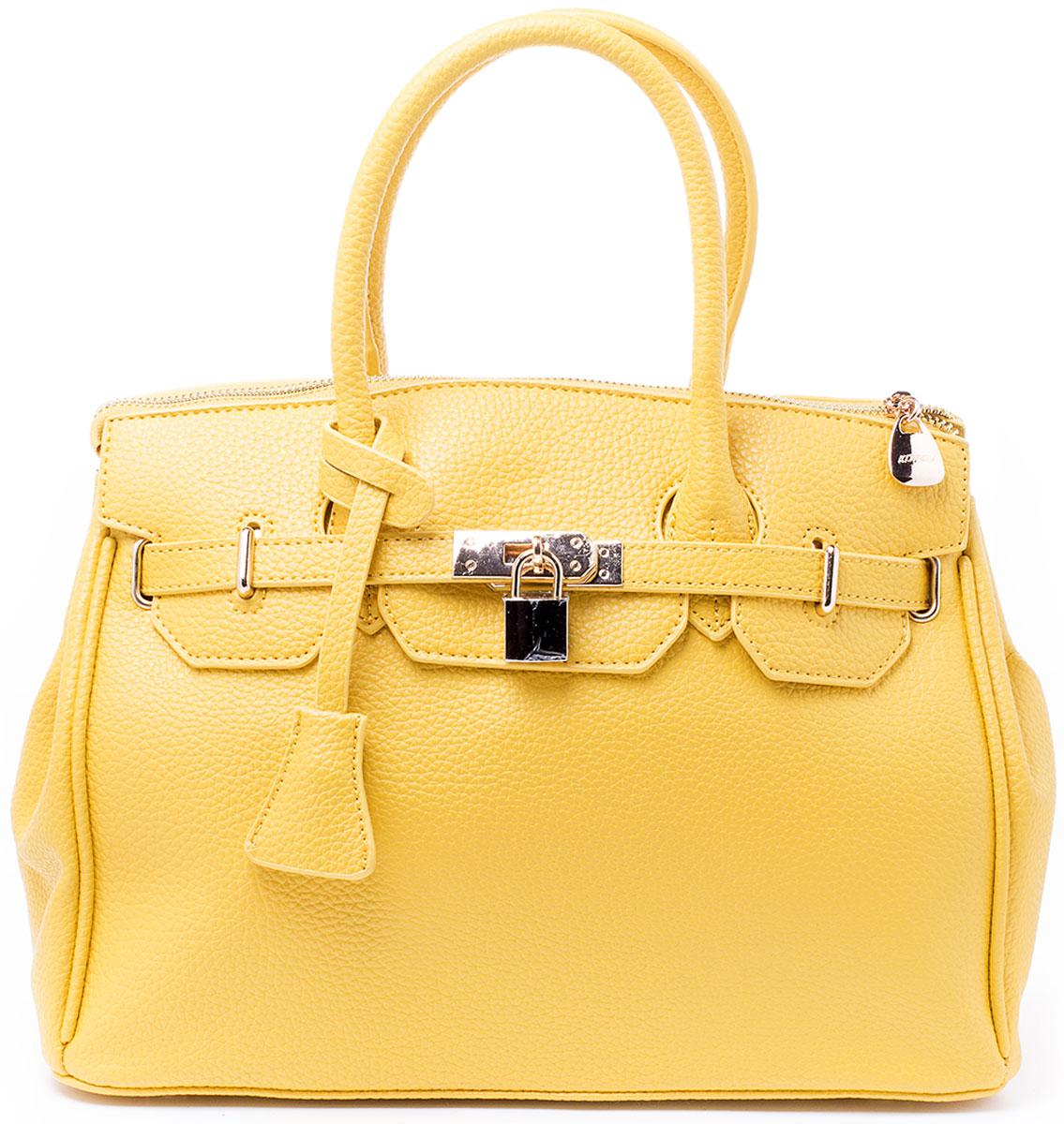 Сумка женская Kordia, цвет: желтый. 916-8182/82916-8182/82Классическая сумка Kordia исполнена из высококачественной экокожи и имеет одно большое отделение на застежке-молнии. Внутри отделения находятся два накладных кармана для мелочей и под сотовый телефон и один прорезной карман на застежке-молнии. Снаружи, на задней стенке сумки, так же находится прорезной карман на молнии. Сумка обладает двумя удобными ручками для переноски и отстегивающимся регулируемым наплечным ремнем, который пристегивается на карабинах к кольцам на задней стенке сумки. Днище сумки защищено от протирания фурнитурными пуклями. Ремень прилагается к сумке.