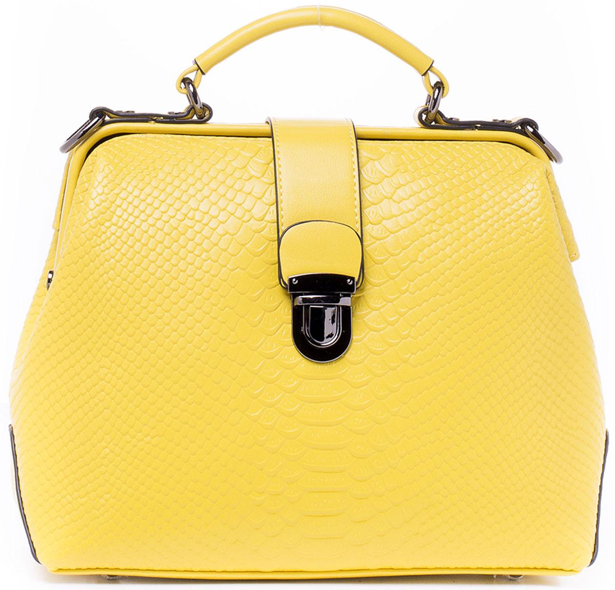 Сумка женская Kordia, цвет: желтый. 937-8702/82937-8702/82Кокетливая сумочка Kordia исполнена из высококачественной экокожи. Имеет одно главное отделение, закрывающееся на рамочный замок. внутри отделения находятся: карман-разделитель на молнии, который разграничивает отделение на две части. два накладных кармашка для сотового телефона или мелочей, один прорезной карман на застежке-молнии. Снаружи, на задней стенке сумки, так же имеется карман на молнии для быстрого доступа к часто используемым вещам. Днище сумки защищено от протирания фурнитурными пуклями. Изделие имеет удобную ручку для переноски и пристегивающийся регулируемый наплечный ремень. Ремень прилагается к сумке.