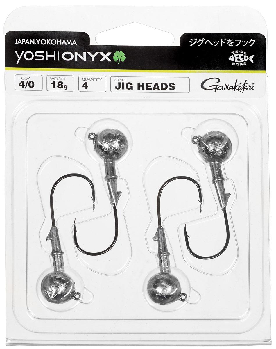 Джиг-головка Yoshi Onyx, крючок Gamakatsu 4/0, 18 г, 4 шт98001Джиг-головки Yoshi Onyx предназначены в первую очередь для донной спиннинговой ловли - джиг спиннинга. Джиг головками оснащаются всевозможные мягкие приманки: виброхвосты, твистеры, силиконовые рачки и черви. Возможно их применение и с естественными насадками, к примеру, при ловле судака бортовой удочкой на мертвую рыбку или кусочки рыбы. Джиг-головка оснащена крючком Gamakatsu. Такой крючок прекрасно пробивает жесткую пасть крупного судака, щуки и сома. Вес: 18 г. Количество: 4 шт. Крючок: Gamakatsu 4/0.
