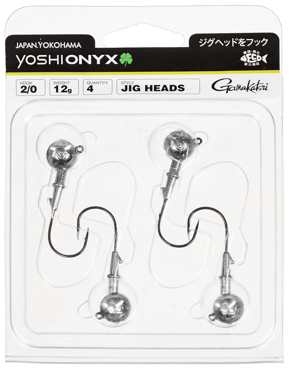 Джиг-головка Yoshi Onyx, крючок Gamakatsu 2/0, 12 г, 4 шт97992Джиг-головки Yoshi Onyx предназначены в первую очередь для донной спиннинговой ловли - джиг спиннинга. Джиг головками оснащаются всевозможные мягкие приманки: виброхвосты, твистеры, силиконовые рачки и черви. Возможно их применение и с естественными насадками, к примеру, при ловле судака бортовой удочкой на мертвую рыбку или кусочки рыбы. Джиг-головка оснащена крючком Gamakatsu. Такой крючок прекрасно пробивает жесткую пасть крупного судака, щуки и сома. Вес: 12 г. Количество: 4 шт. Крючок: Gamakatsu 2/0.