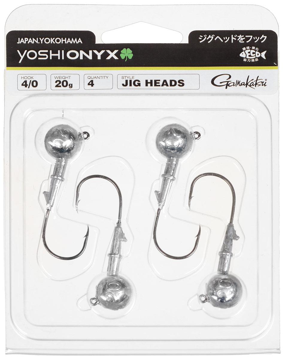 Джиг-головка Yoshi Onyx, крючок Gamakatsu 4/0, 20 г, 4 шт98002Джиг-головки Yoshi Onyx предназначены в первую очередь для донной спиннинговой ловли - джиг спиннинга. Джиг головками оснащаются всевозможные мягкие приманки: виброхвосты, твистеры, силиконовые рачки и черви. Возможно их применение и с естественными насадками, к примеру, при ловле судака бортовой удочкой на мертвую рыбку или кусочки рыбы. Джиг-головка оснащена крючком Gamakatsu. Такой крючок прекрасно пробивает жесткую пасть крупного судака, щуки и сома. Вес: 20 г. Количество: 4 шт. Крючок: Gamakatsu 4/0.