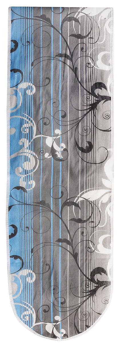 Чехол для гладильной доски Eva Полосы, цвет: серый, белый, голубой, 120 х 38 смЕ13*_серый, белый, голубойЧехол Eva, выполненный из хлопка с поролоновым слоем, продлит срок службы вашей гладильной доски. Чехол снабжен стягивающим шнуром, при помощи которого вы легко отрегулируете оптимальное натяжение и зафиксируете чехол на рабочей поверхности гладильной доски. Чехол оформлен красивым узором, что оживит внешний вид вашей гладильной доски. Размер чехла: 120 х 38 см. Максимальный размер доски: 112 х 32 см.